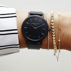 All black, all chic, all the time🕖The Gramercy Black Black #blackwatch #gramercy #jewelry #rosefieldwatches #rosefield #amsterdam #newyork #nyc