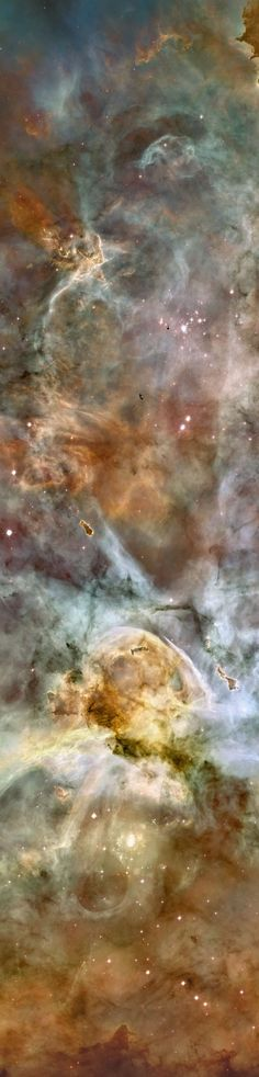 In one of the brightest parts of Milky Way, the Carina Nebula spans over 300 light years and about 7,500 light-years away in the constellation of Carina. Pictured above is part of the most detailed image of the Carina Nebula ever taken by the Hubble Space Telescope.