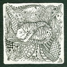 Kitty Dreams with spiders Abc Coloring Pages, Free Adult Coloring Pages, Coloring Books, Doodle Ideas, Doodle Patterns, Zentangle Drawings, Doodles Zentangles, Doodle Sketch, Doodle Art