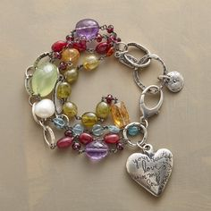 """TREASURED LOVE BRACELET--Jes MaHarry brings her artistry and spirit to this celebration of love, combining apatite, aquamarine, citrine, garnet, pearl, ruby and amethyst with charms hand etched with words of endearment. Sterling silver clasp. USA. Exclusive. 7-1/2""""L."""
