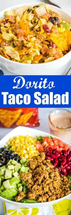 Dorito Taco Salad - a fresh a delicious salad loaded with seasoned ground beef beans cheese tomatoes avocado plenty of crushed Dorito tortilla chips and tossed in a creamy homemade dressing. Dorito Taco Salad Recipe, Taco Salad Recipes, Healthy Salad Recipes, Pasta Recipes, Mexican Food Recipes, Beef Recipes, Dinner Recipes, Cooking Recipes, Ethnic Recipes