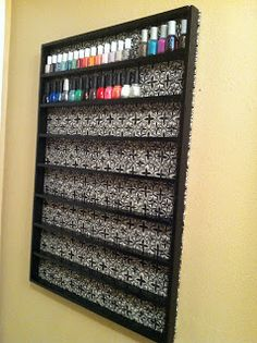 DIY Nail Polish Rack. I would use it for craft sypplies- craft paint, glitter glue, etc.