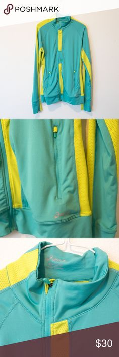 MENS small asics turquoise yellow jacket MENS small asics turquoise yellow running track jacketbreathable dry fit material zipup jacket active wear for gym Asics Jackets & Coats Lightweight & Shirt Jackets