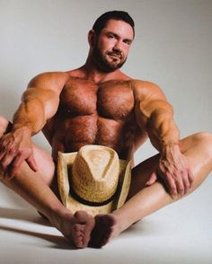 Gay Adult Star and Bodybuilder Bo Dixon -- with his cowboy hat