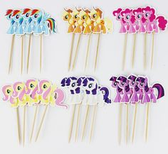 My Litte Pony Cupcake Picks Birthday Cake icing Toppers 24 - Pack