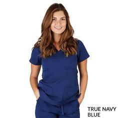 Description: Junior fit mock wrap scrub top Super soft fabric polyester / Rayon Two patch pockets Fitted back with button tabs Set-in sleeves Back waist elastic for shaping Please see size chart for perfect fit XXS XS S M L XL Bust Waist Lab Jackets, Navy Blue Scrubs, Peplum Dress, Ruffle Blouse, Feel Fantastic, Scrub Sets, Wrap Style, Looks Great