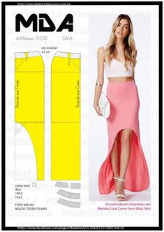 This post may contain affiliate links. Find a great selection of skirt designs and learn how to design your own skirts for any figure, style, or size. You'll have professionally looking and stylish skirts. Sloper Pattern The first step … Read Skirt Patterns Sewing, Clothing Patterns, Diy Clothing, Sewing Clothes, Fashion Sewing, Diy Fashion, Costura Fashion, Diy Vetement, Modelista