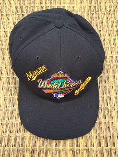 01588d90ea127 1997 World Series Black Snap Back Baseball Hat Marlins Indians New Era  Vintage