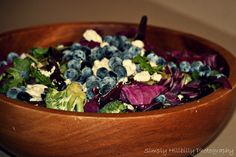 Pumpkin Blue Salad:  6-8 Cups of mixed baby greens  1 Cup blueberries  1/4 cup raw unsalted pumpkin seeds  1 cub red cabbage  1-2 cups broccoli  1 cup feta cheese (or blue cheese)     Lemon Thyme Vinaigrette  1/4 cup fresh lemon juice  1 tsp thyme  1/4 cup rice vinegar  1/2 cup coconut balsamic vinegar  1/4 cup EVOO    In a food processor blend all but the EVOO. Slowly drizzle in the EVOO over a 1 minute period to let the fats emulsify.     Mix all together in a large bowl and top with dress...