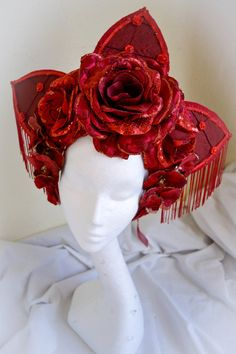 Red Rose 'Carmen' Couture Fringed Headdress by livfreecreations