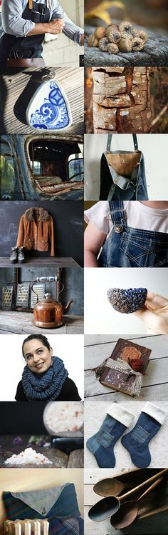 Rustic and Blue............ by Eveline on Etsy--blue brown christmas christmas gift christmas gifts denim for the home gift guide jeans maroonedjewelry nature inspired rustic treasurybox trendsetting challenge 117 trendsetting team