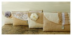 Set of 12 Your 12th bag is FREE clutch burlap lace by hoganfe, 209.00