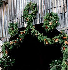 magnolia leaves added to cedar garland? Merry Christmas, Christmas Love, Country Christmas, All Things Christmas, Christmas Holidays, Natural Christmas, Happy Holidays, Christmas Ideas, Holiday Wreaths