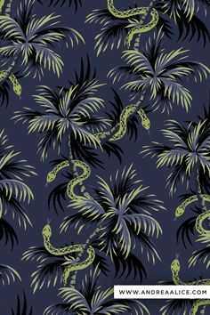 Snakes on palm trees tropical pattern illustration print. blue gold black by Andrea Muller www.andreaalice.com