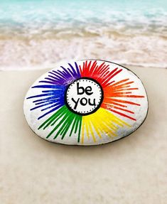 Rock Painting Ideas Discover Be You Rock Rainbow Rock Rainbow Painted Rock Words of Encouragement Stone Affirmation Rocks Painted Rock Be You Rainbow Painting Rock Painting Patterns, Rock Painting Ideas Easy, Rock Painting Designs, Paint Designs, Rock Painting Ideas For Kids, Pebble Painting, Pebble Art, Diy Painting, Beginner Painting