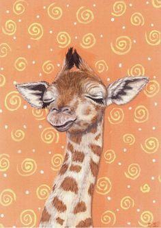 Sleepy Giraffe Print 5 x 7 by SavageArtworks on Etsy, $8.00