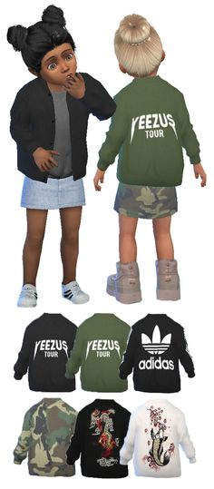 So I made some toddler bombers! The recolour comes with 6 swatches (2 Yeezus Tour, 1 Adidas, 2 Embroidered and 1 Camo). You need to download the mesh by the amazing @lumy-sims You can download the...