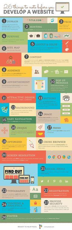Vous songez à développer votre propre site internet ? Cette infographie créé par Pixaal détaille quelques principes de base que vous devez considérer avant de démarrer la création de votre projet Web.De la typographie au suivi des médias sociaux en passant par la résolution de l\\\'écran, vous trouverez ici 26 ...