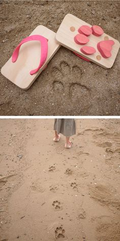 Animal footprint sandals - for little feet on the beach