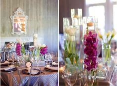 centerpieces, pink, purple; photo by Skye Blu Photography