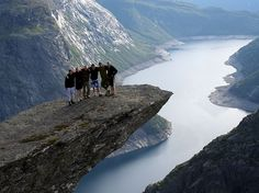 Trolltunga is a piece of rock that hangs out of the mountain about 2,000 feet up in the air. The Troll's Tongue (translation in English) is available to hikers from mid-June to about mid-September.