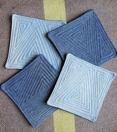 (I would like hot pads.  lfu)   Denim Coasters with quilt stitching