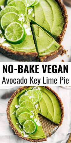 Lime Vegan Pie No-bake key lime pie! This vegan key lime pie recipe is made with avocados and will slay the dessert table- even the non-vegans in my life love this recipe! Healthy paleo and raw key lime pie recipe.No-bake key lime pie! This vegan key lime Desserts Crus, Raw Vegan Desserts, Raw Vegan Recipes, Healthy Diet Recipes, Vegan Dessert Recipes, Pie Recipes, Recipes With Avocado, No Bake Recipes, Raw Vegan Dinners