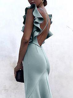 Solid Ruffles Backless Fishtail Maxi Dress