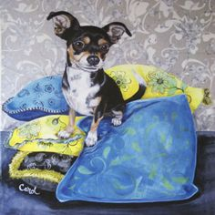 CHIHUAHUA-SMOOTH-COAT-MEXICAN-DOG-FINE-ART-PRINT-034-Chihuahua-Pillows-II-034