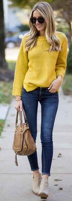 #fall #style #looks Mustard Sweater + Jeans