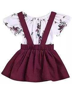 2Pcs Infant Toddler Baby Girls Summer Boho Floral Rompers Jumpsuit Strap Skirt Overall Dress Outfits Set #toddlerOverallsgirl #toddlerskirtoutfit