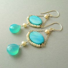 Aqua Chalcedony and Shell Sterling Silver Earrings by SurfAndSand, $47.00