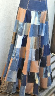 Patchwork skirt from old jeans by KreekaPähkel