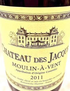 "Check out our latest ""Wine of the Week"": 2011 Louis Jadot Château des Jacques Moulin-à-Vent from Beaujolais, France! This medium-bodied red wine has a lovely ruby red color & enticing aromas of dark fruit, spice cake & a whiff of lavender. On the palate, fleshy dark fruit predominates with flavors of ripe black cherry, blackberry and cassis balanced by supple tannins & a bright acidity. It pairs perfectly with dishes ranging from roasted chicken to braised beef short ribs!