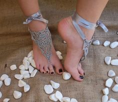 Bridal wedding shoes Gray silver crochet barefoot sandals, sandal wedding foot jewelry, Sexy, Lolit from yagmurshop on Etsy. Bridal Wedding Shoes, Sandals Wedding, Boho Wedding, Wedding Blog, Crochet Barefoot Sandals, Crochet Wedding, Victorian Lace, Nude Shoes, Nude Sandals
