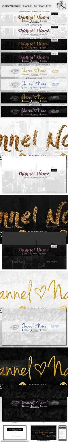 4 Vlog Youtube Channel Art Banners - YouTube Social Media