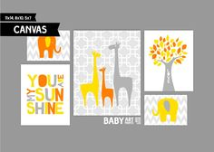 Yellow, Orange and Grey Nursery canvas art prints, Set of 5, Family, Elephants, Giraffe, Tree, You are my sunshine ( MS004 ) by babyartprints on Etsy https://www.etsy.com/listing/178916885/yellow-orange-and-grey-nursery-canvas
