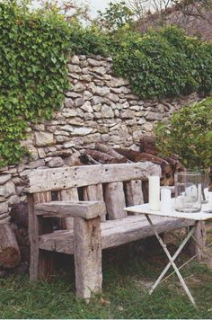rustic bench- something like this Mom??