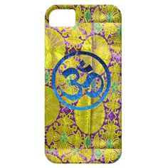 om yoga cell phone case. A blue om against a silken golden floral textile background makes a stunning custom designed iphone case, avail. all versions