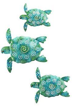 Regal Art & Gift Sea Turtle Beach Ocean Summer Metal Wall Art (3-Piece)