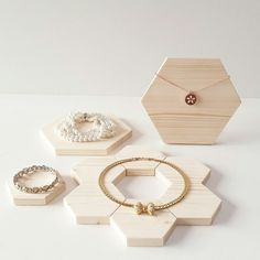 Hexagon jewelry display set , pine wood .