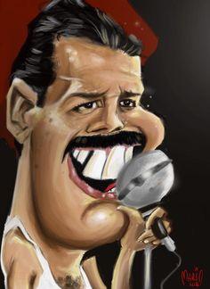 Karikatuur Freddie Mercury