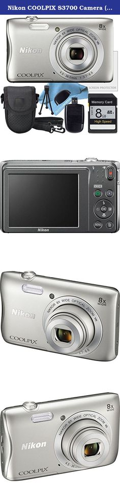 Nikon COOLPIX S3700 Camera ( White Box Packaging ), Camera Case, 8GB SD Memory Card, Table Top Tripod, Lens Cleaning Kit and LCD Screen protector, USB SD Card Reader. The silver COOLPIX S3700 Digital Camera from Nikon is a compact point-and-shoot camera with a 20.1MP image sensor providing high-resolution imagery. Its built-in NIKKOR lens offers 8x optical zoom with a focal range of 4.5 to 36mm and a variable aperture range of f/3.7 to f/6.6. For even further reach, the 16x Dynamic Fine…