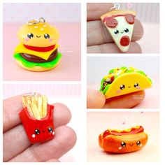 Here's a collection of mini fast food kawaii charms. Check them out on my website www.sweetclaycreations.com com #pizza #pepperonipizza…