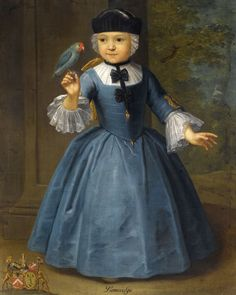 Portrait of a girl of thee Knyff Family of Anvers and Brussels (S. European Paintings, Old Paintings, Christopher Steele, School Portraits, Bird Art, 18th Century, Dame, Art For Kids, Children