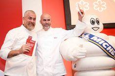 Minha cobertura completa da festa de  lançamento no Copacabana Palace do Guia Michelin - na foto os chefs Alex Atala e Giovane Carneiro