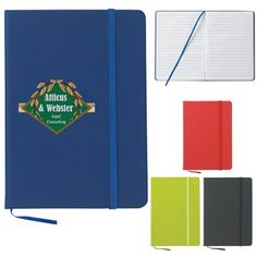 The Custom Branded Ribbon Journal Book has a matching bookmark and strap closure.  It has 80 lined pages, and a PVC cover