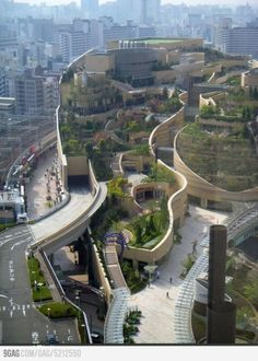 Nature's Enclave in a Japanese Metropolis. The insane architecture you see above is the aftermath of a baseball stadium being abandoned in Osaka Japan; a new opportunity revealed itself and brought a bit of green regeneration to the urban jungle.