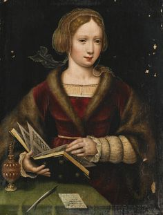 A Lady Leafing Through a Book, Possibly Mary Magdalene Antwerp School. Oil on oak panel. This charming painting, by an as yet unidentified hand, shares some characteristics with the. Portrait Renaissance, Renaissance Paintings, Renaissance Art, Italian Renaissance, Reading Art, Woman Reading, Female Portrait, Female Art, Image Avatar