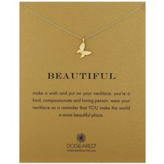 """Dogeared """"Reminders"""" Beautiful Enchanted Butterfly Gold Charm... ($62) ❤ liked on Polyvore featuring jewelry, necklaces, yellow gold necklace, charm necklace, yellow gold jewelry, monarch butterfly necklace and gold charms"""